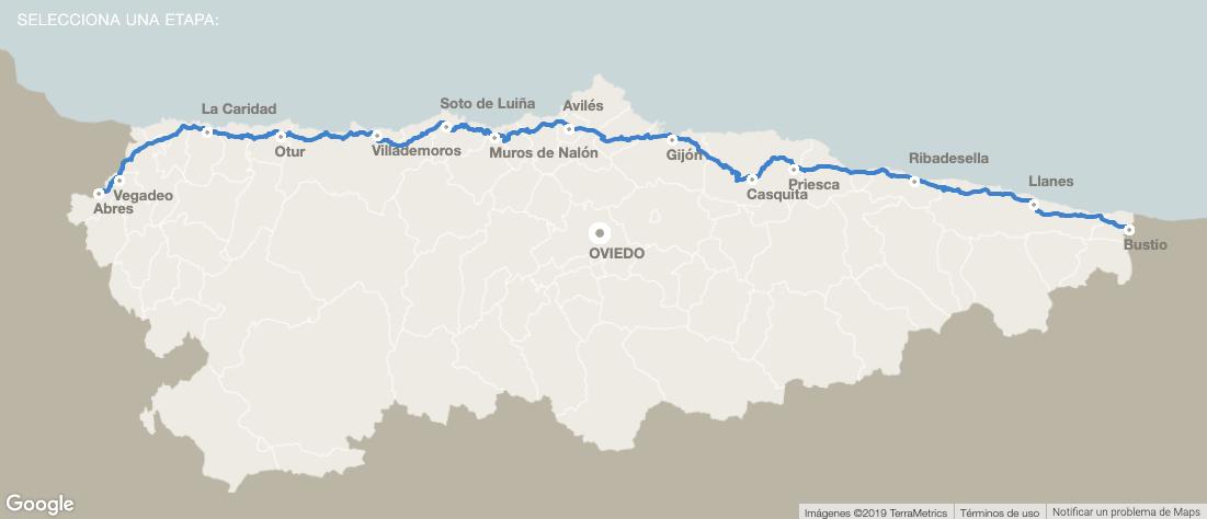 Mapa ruta Camino del Norte - Camino de Santiago por Asturias y Avilés